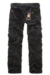 Multi Pockets Straight Leg Military Cargo Pants - BLACK