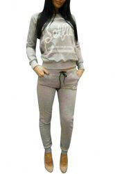 Active Hooded Long Sleeve Letter Printed Hoodie and Sweat Pants Suit For Women - LIGHT GRAY