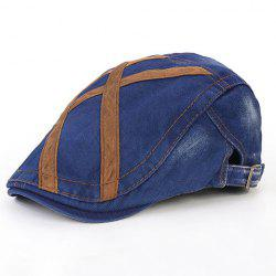 Stylish Strappy and Adjustable Buckle Embellished Jeans Flat Cap For Men - BLUE
