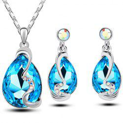 Faux Crystal Teardrop Necklace and Earrings -