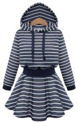 Active Hooded Striped Long Sleeve Flounce Hoodie Dress For Women -