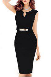 Noble V-Neck Sleeveless Faux Belt Embellished Ruched Women's Bodycon Dress