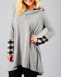 Stylish Hooded Long Sleeve Gingham Asymmetrical Women's Hoodie