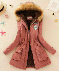 Hooded Parka Drawstring Design Embroidered Fleece Coat For Women