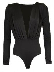 Casaul Plunging Collar Long Sleeve Solid Color Women's Romper - BLACK