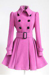 Fit and Flare Double Breasted Coat - PINK