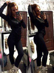 Stylish Hooded Long Sleeve Sweatshirt + Solid Color Slimming Pants Women's Twinset - BLACK