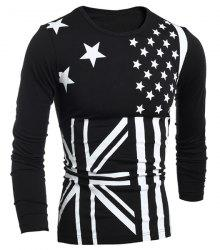 Classic Union Jack and American Flag Print Round Neck Long Sleeves Men's Slimming T-Shirt -