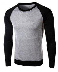 Classic Color Block Splicing Round Neck Long Sleeves Men's Slimming T-Shirt - BLACK AND GREY
