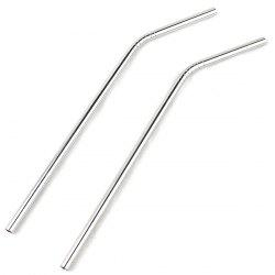 2Pcs Stainless Steel Bending Straw Practical Stirring Rod Household Supplies - SILVER