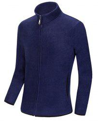 Multicolor Optional Stand Collar Color Block Purfled Loose Fit Long Sleeves Men's Sweatshirt -