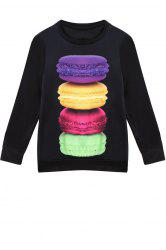 Stylish Jewel Neck Long Sleeve Macaron Print Women's Sweatshirt -