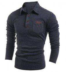 Long Sleeve PU-Leather Insert Polo T-Shirt - DEEP GRAY