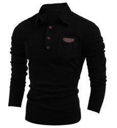 Turn-Down Collar Button Embellished Long Sleeve PU-Leather Splicing Men's T-Shirt - BLACK