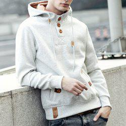 Drawstring Hooded PU-Leather Splicing Button Embellished Long Sleeve Men's Hoodie