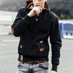 Drawstring Hooded PU-Leather Splicing Button Embellished Long Sleeve Black Hoodie Men