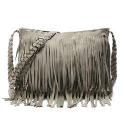 Stylish Fringe and Weaving Design Women's Crossbody Bag - GRAY