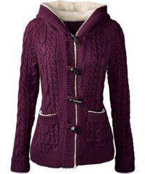 Chic Long Sleeve Solid Color Hooded Cardigan For Women - PURPLE