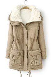 Fresh Style Drawstring Thick Fleece Coat For Women - KHAKI