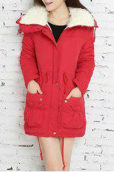 Fresh Style Drawstring Thick Fleece Coat For Women