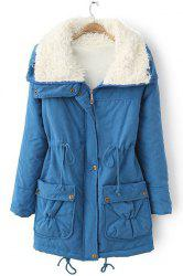 Fresh Style Drawstring Thick Fleece Coat For Women - BLUE