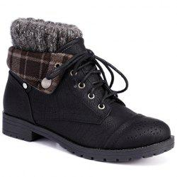 Retro Engraving and Lace-Up Design Women's Sweater Boots - BLACK