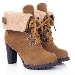 Suede Chunky Heel Booties - BROWN