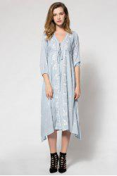 Fashionable V-Neck Tiny Floral Embroidery Tie-Up 3/4 Sleeve Dress For Women -