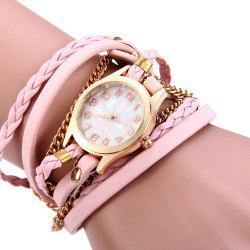 Women Vintage Weave Wrap Leather Bracelet Wrist Watch - PINK