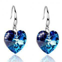 Pair of Alloy Faux Sapphire Heart Earrings -