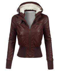 Stylish Hooded Long Sleeve Slimming Faux Leather Women's Jacket - BROWN