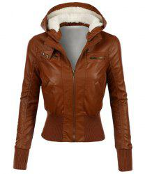 Stylish Hooded Long Sleeve Slimming Faux Leather Women's Jacket
