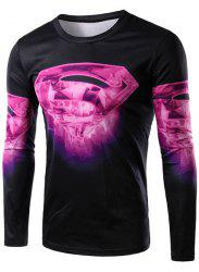 Round Neck 3D Superman Logo Print Long Sleeve Men's T-Shirt -