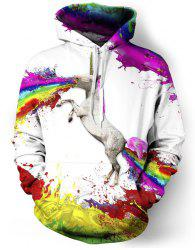 3D Unicorn Print Colorful Splash-Ink Front Pocket Loose Fit Drawstring Hooded Long Sleeves Men's Hoodie - WHITE