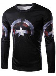3D Captain America Shield Print Character T-Shirt - BLACK