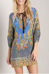 Chic Style V Neck 3/4 Sleeve Printed Shift Dress For Women