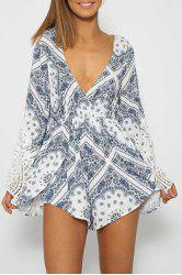 Sexy Plunging Neck Long Sleeve Paisley Print Lace Spliced Women's Playsuit