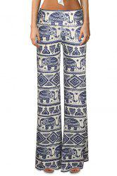 Ethnic High-Waisted Elephant Print Women's Bell Bottoms