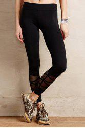 Casual Style Black Voile Spliced Women's Leggings - BLACK