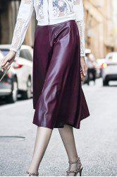 Stylish High Waisted Wine Red PU Leather Women's Skirt