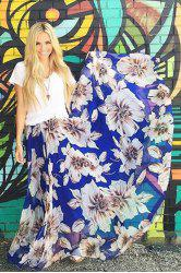 Stylish High Waisted Flower Print Women's Maxi Skirt - BLUE AND WHITE