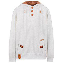 Hooded Half Button Up Pullover Hoodie - WHITE