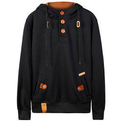 Hooded Half Button Up Pullover Hoodie -