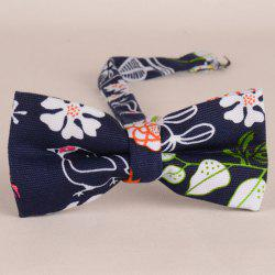 Stylish Hand Painted Flower Bird Leaf Pattern Bow Tie For Men -