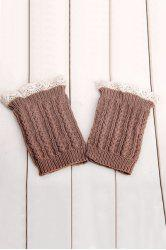 Pair of Chic Lace Embellished Herringbone Knitted Boot Cuffs For Women -
