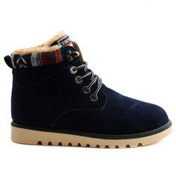 Ethnic Style Plush and Lace-Up Design Men's Snow Boots -
