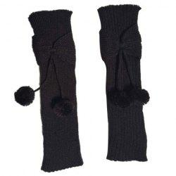 Pair of Chic Small Ball Pendant and Bow Embellished Knitted Leg Warmers For Girls -