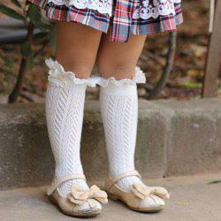 Pair of Chic Button and Lace Embellished Herringbone Knitted Stockings For Girls -