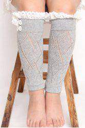 Pair of Chic Lace Button Embellished Rhombus Hollow Out Knitted Leg Warmers For Girls -