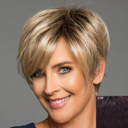 Stunning Short Layered Capless Trendy Fluffy Side Bang Straight Human Hair Wig For Women -